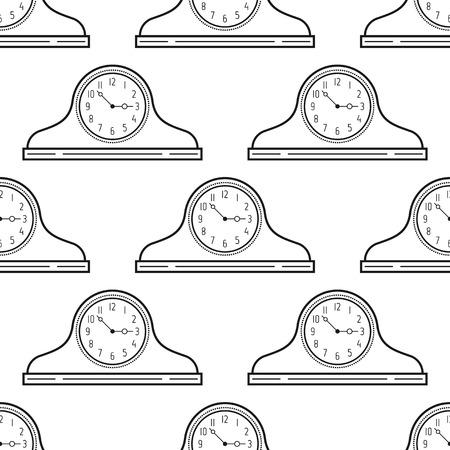 mantel: Black and white mantel clock. Seamless pattern. Decorative background. Vector