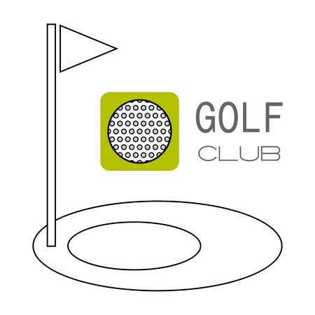 dimple: Golf ball and hole for game. Flat color icon. illustration. Sports object