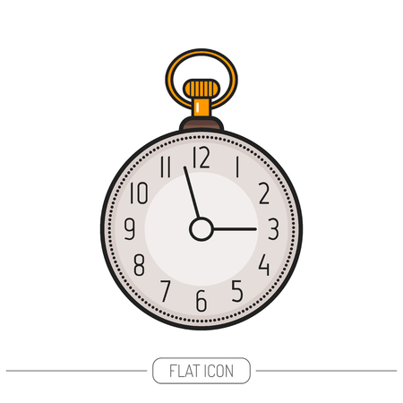 pocket watch: Flat colored icon pocket watch isolated on white background. illustration