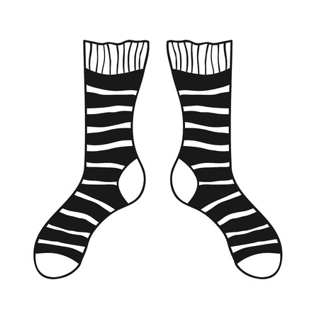 hosiery: Pair of doodle socks isolated on white background. Clothing, accessory. Vector illustration.