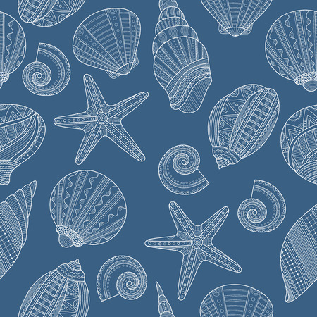 cockleshell: Seamless pattern with linear sea shells on blue background. Vector illustration