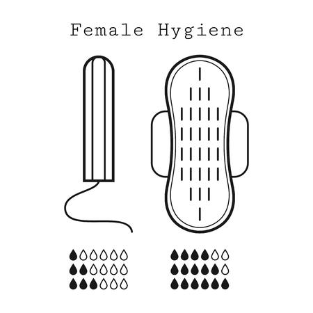 menstruation: Tampon and strip, flat linear icons of feminine hygiene. Menstruation