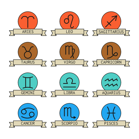 predictions: Signs of the zodiac for horoscope and predictions. Vector illustration