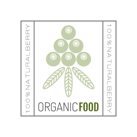 Organic food. Badge and label for healthy eating with berry icon, silhouette. Vector illustration