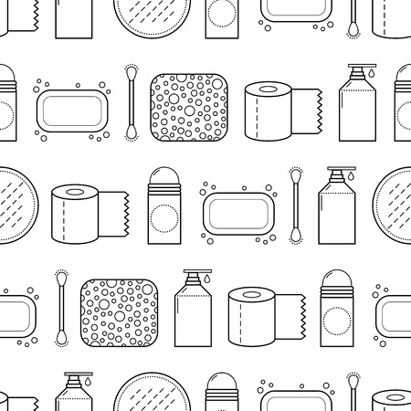 woman hygiene protection: Feminine hygiene. Seamless pattern with cosmetics. Vector illustration