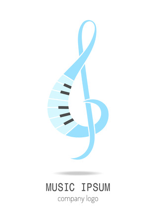 logo music: Treble clef. Music icon and logo. Vector illustration