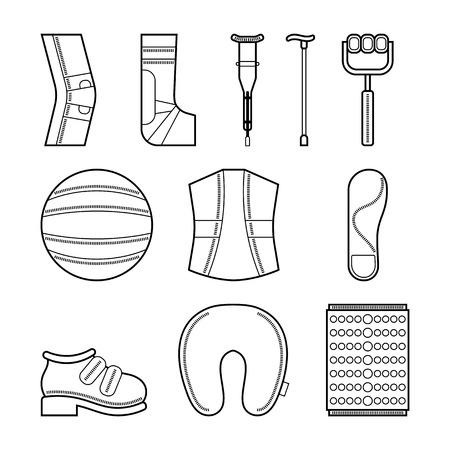 rehabilitation: Orthopedic set of items for the medical rehabilitation. Flat icons. Vector illustration Illustration