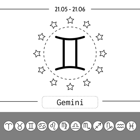 abstract aquarius: Gemini. Signs of zodiac, flat linear icons for horoscope and predictions. Vector illustration Illustration