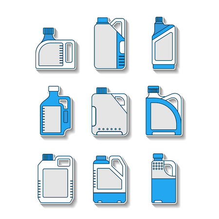 with liquids: Blank plastic canisters, flat icons. Plastic packaging for machine oil, water and other liquids. Vector illustration Illustration