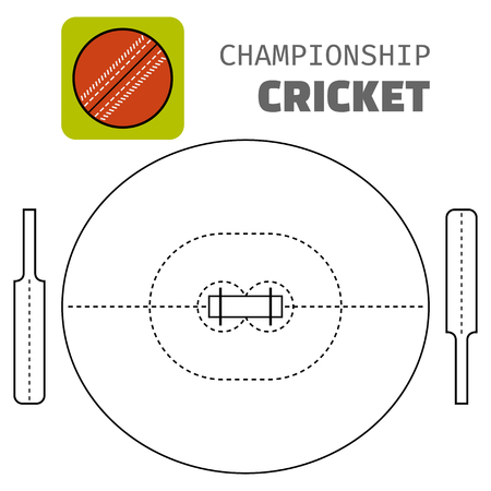 batsman: Cricket. Flat color icon sports ball and field plan. Vector illustration