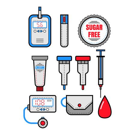 Cukrzyca. Zestaw płaskich kolorowymi ikonami. Glukometr i insulina. ilustracji wektorowych