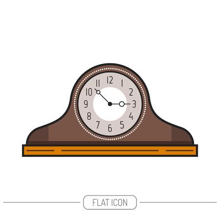 mantel: Flat colored mantel clock isolated on white background. Vector illustration Illustration