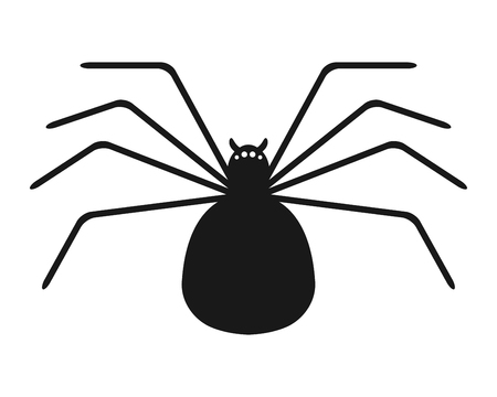 spidery: Black silhouette of spider on white background. Flat icon object. Vector illustration. Illustration