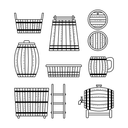 Set barrel, mug, wooden tub and other barrel products. Flat linear icons. Vector illustration