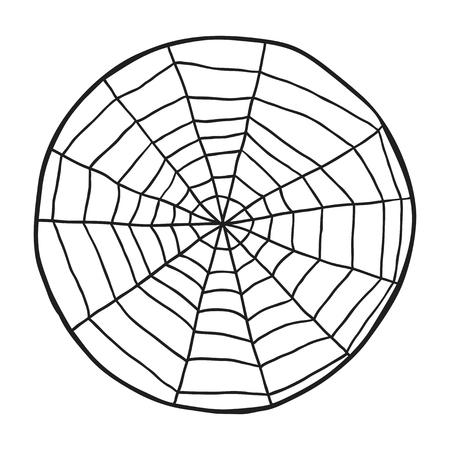 spiderweb: Doodle spiderweb isolated on white background. Vector illustration