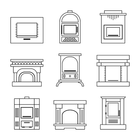 stoves: Flat linear icons fireplace, stoves isolated on white background. Vector illustration Illustration
