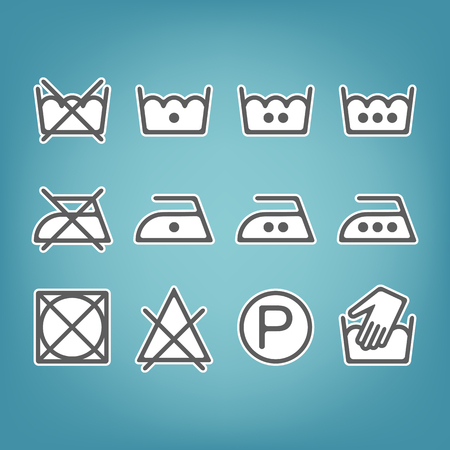 dry cleaning: Instruction laundry. Dry cleaning and care. Flat icons. Vector illustration