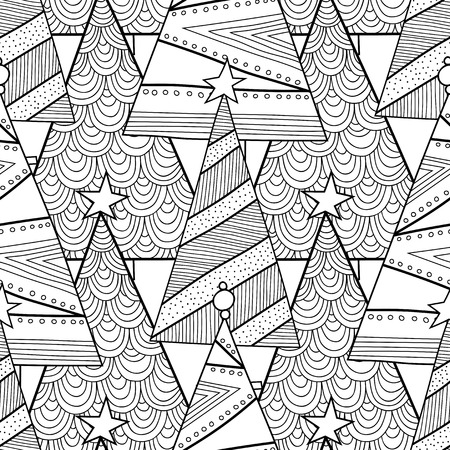 Black and white pattern with decorative Christmas trees for coloring book. Winter, festive background. Vector illustration