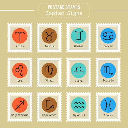 postage stamps: Zodiac signs icons for horoscopes, predictions, postage stamps. Vector illustration