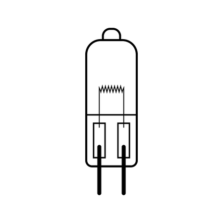 halogen: Halogen light bulb. Flat linear icon. Lighting equipment. Energy saving. Vector