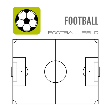 gridiron: Soccer field with flat icon ball. Football. Vector illustration