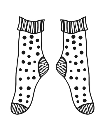 white socks: Pair of doodle socks isolated on white background. Clothing, accessory. Vector illustration.