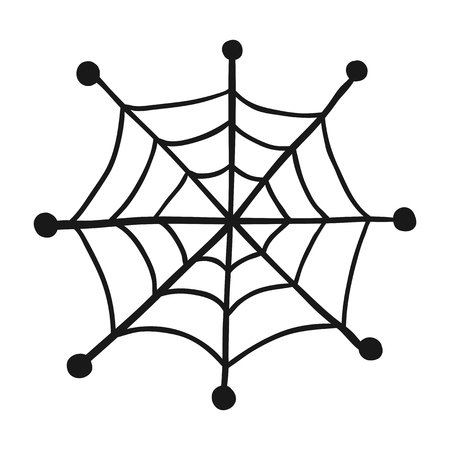 Doodle spiderweb isolated on white background. Vector illustration