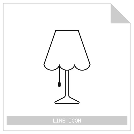 light source: Table lamp. Flat linear icon. Object of interior, light source. Vector illustration