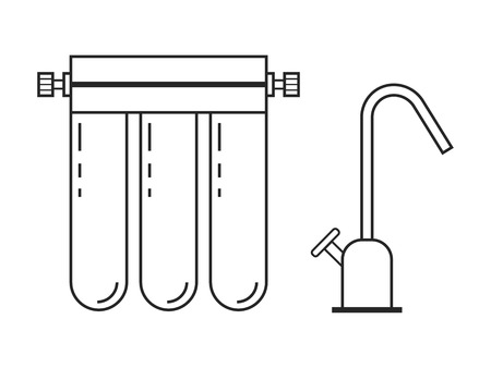 water filter: Water filter. Flat linear icon and object. Water purification. Vector illustration