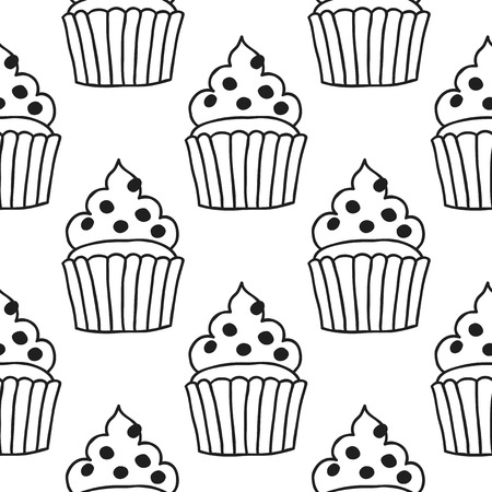 adult birthday party: Black and white seamless pattern with cakes for coloring books. Illustration of desserts and pastry. Illustration