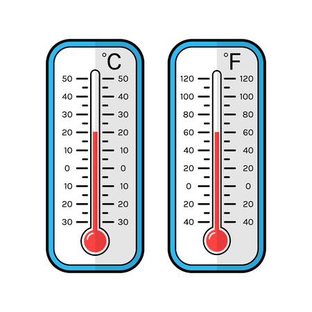 growth hot: Colored flat icons of thermometers for weather. Scale Celsius and Fahrenheit. Illustration
