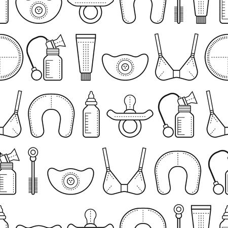 woman drinking milk: Breastfeeding. Seamless pattern, background with linear flat icons. Motherhood. Vector illustration Illustration