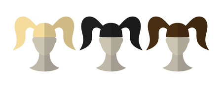 black wigs: Flat icon hairstyles. Blonde, brunette. Different color hair wigs. Vector illustration Illustration
