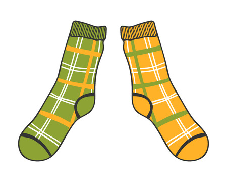 stocking feet: Pair of doodle socks isolated on white background. Clothing, accessory. Vector illustration