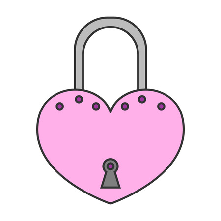 Padlock. Flat colored icon of lock isolated on white background. Object of safety, protection. Vector illustration Illustration