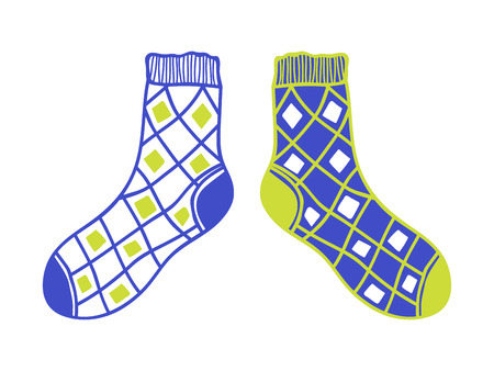 hosiery: Pair of doodle socks isolated on white background. Clothing, accessory. Vector illustration