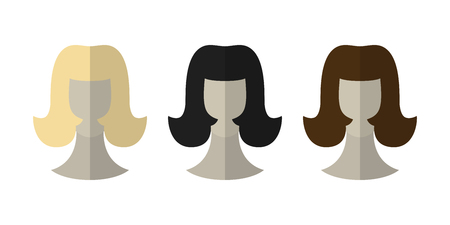 wigs: Flat icon hairstyles. Blonde, brunette. Different color hair wigs. Vector illustration Illustration