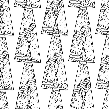 coloration: Black and white seamless pattern with decorative Christmas trees for coloring book. Winter, festive background. Vector illustration
