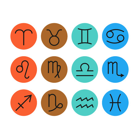 Signs of zodiac, flat colored icons for horoscope and predictions. Vector illustration Illustration