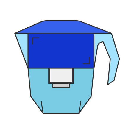 water filter: Carafe. Water filter. Flat icon and object. Vector illustration