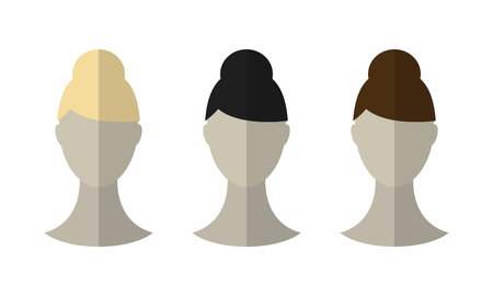 Flat icon hairstyles. Blonde, brunette. Different color hair wigs. Vector illustration Illustration