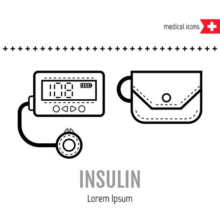 medical equipment: Equipment for diabetics. Medical flat linear icon. Vector illustration