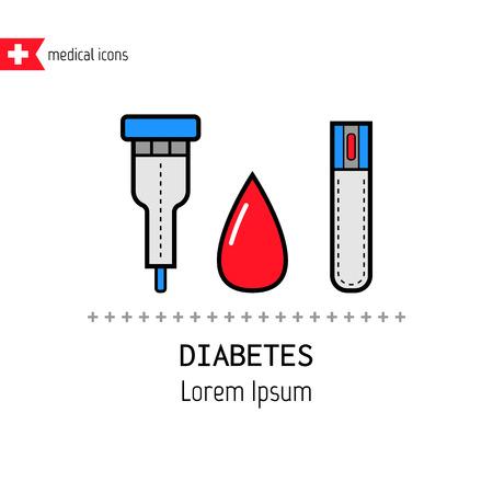 Teststreifen und Tropfen. Die Bestimmung der Blutzuckerspiegel. Flache farbige Symbole. Diabetes Vektorgrafik