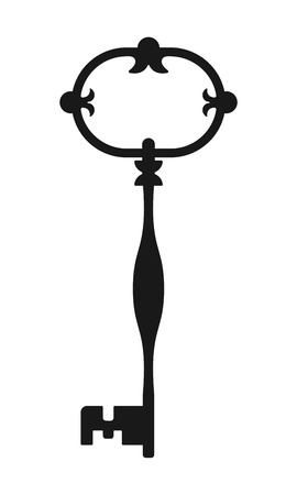 latchkey: Vintage antique key, black silhouette isolated on white background. Vector illustration