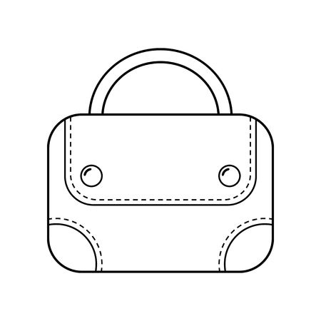 bag icon: Hand bag isolated. Linear flat icon, object. Fashion accessory. Vector illustration
