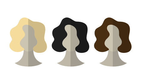 color hair: Flat icon hairstyles. Blonde, brunette. Different color hair wigs. Vector illustration Illustration