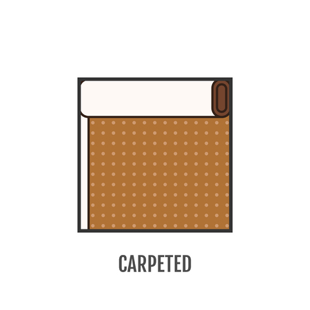 floor coverings: Flat icon of carpeted. Finishing materials and floor coverings. Vector illustration