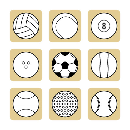 sports balls: Set of sport balls for different games. Flat icons, sports equipment. Vector illustration Illustration