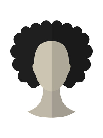 wig: Flat icon hairstyle and brunette. Hair wig. Vector illustration