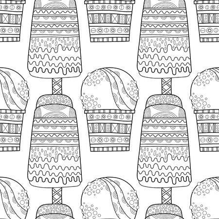 frozen treat: Black and white seamless pattern with decorative ice cream for coloring book. Vector illustration